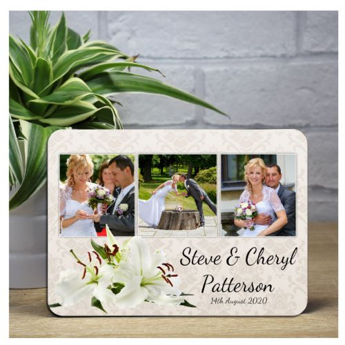 Personalised Lillies Wedding Day Wood Photo Panel Print F20